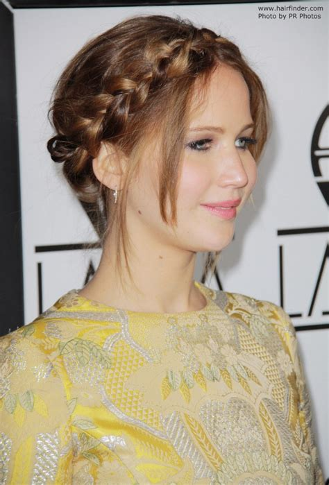 jennifer lawrence wearing  hair   braided  style