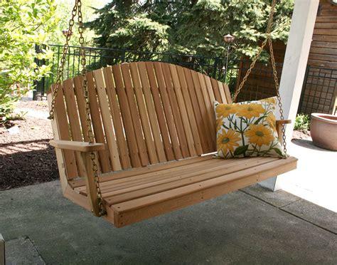 wooden porch swings cedar blue mountain fanback porch swing