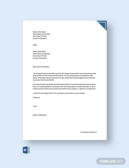 vehicle ownership transfer letter template word
