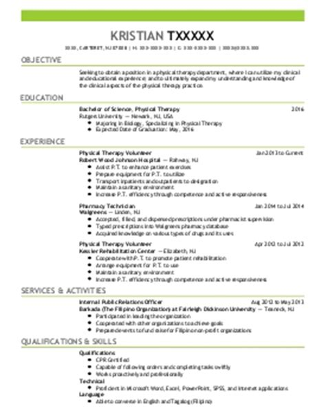 Therapy Graduate Resume Sles by Occupational And Physical Therapy Resume Exles Healthcare Resumes Livecareer