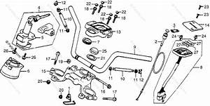 Honda Motorcycle 1978 Oem Parts Diagram For Handlebar    Top Bridge    Key Set