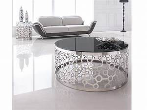Table Basse Noire Ronde : table basse ronde glossy ~ Teatrodelosmanantiales.com Idées de Décoration