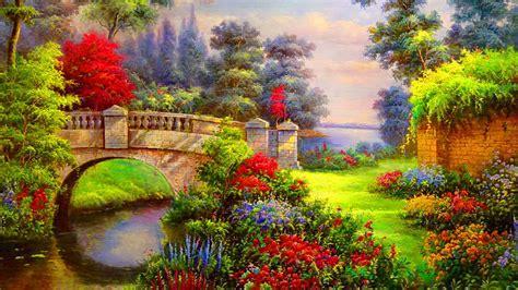 vibrant flowers bridge river desktop pc  mac