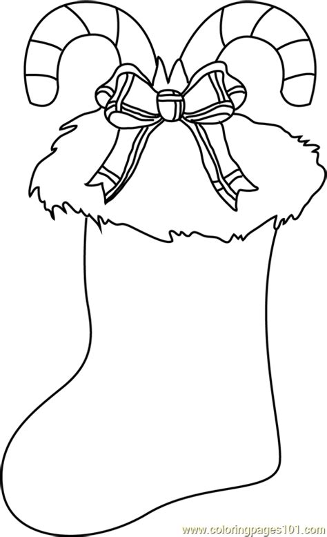 christmas stocking decorated coloring page