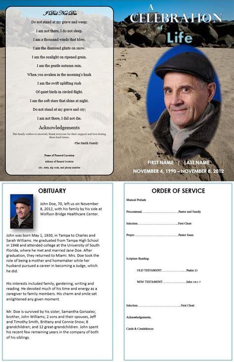 footprints  sand grief funeral program template