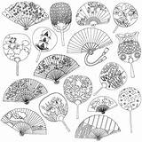 Coloring Japanese Books Pages Tokyo Adult Adults Secret Fans Calm Cleverpedia Fan Way Hand Tattoo Traditional Sheets October Para Doodle sketch template