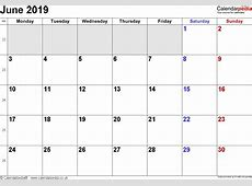 Calendar June 2019 UK, Bank Holidays, ExcelPDFWord Templates