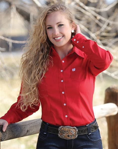 Cinch Womens Long Sleeve Solid Button Down Shirt Red