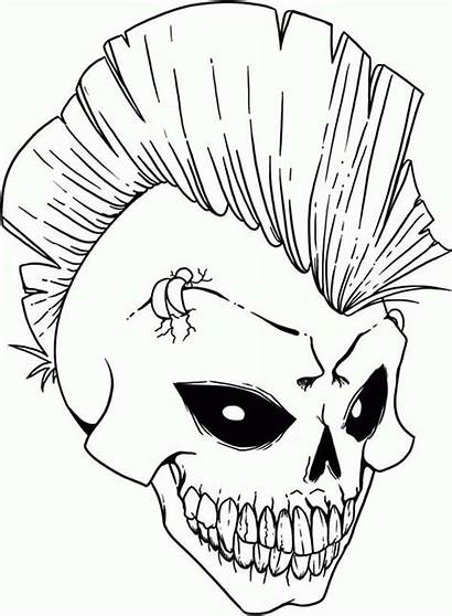 Coloring Skull Pages Punk Rock Scary Stencils