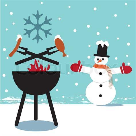 grillparty im winter winter barbecue wintergrillen vektorgrafik colourbox