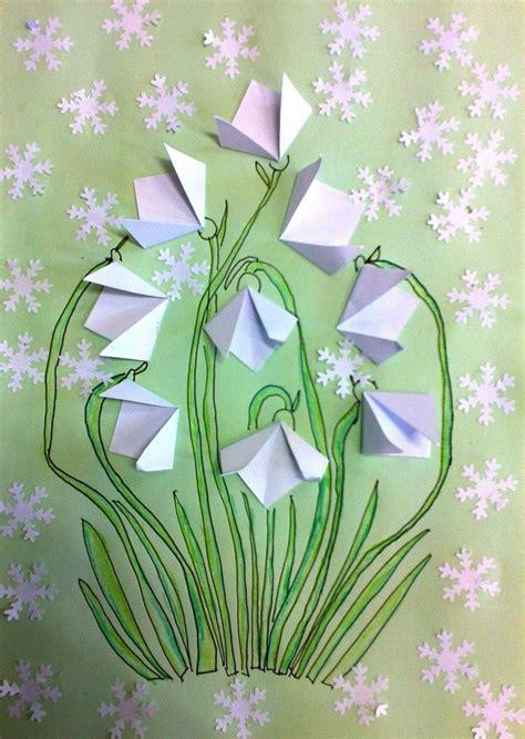 schneegloeckchen basteln origami falten papier bastelideen kinder schneegloeckchen basteln