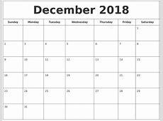 December 2018 Printable Calendar calendar template excel