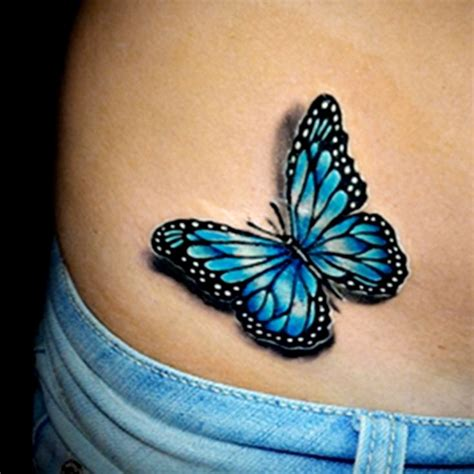 black outline blue butterfly tattoo  hip