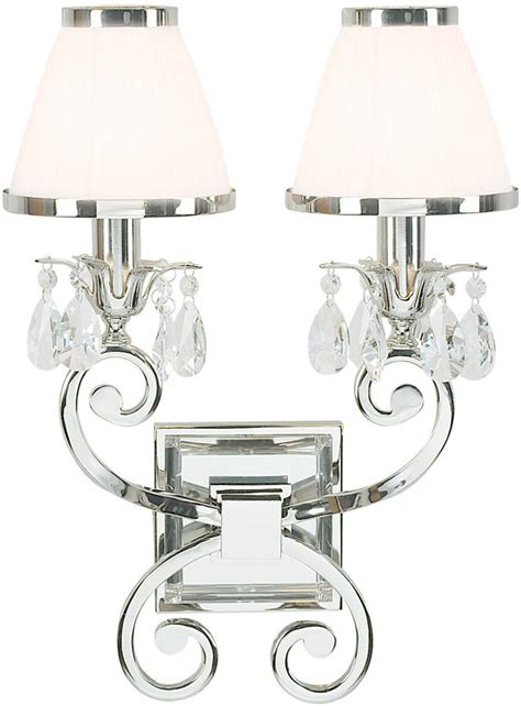 oksana nickel twin wall light crystal drops white shades 63536