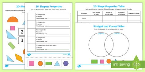 properties   shapes worksheet activity sheets