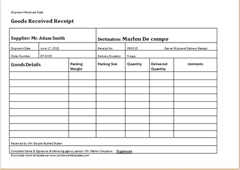 delivery receipt template  word word excel templates