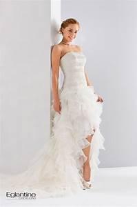 Robe Courte Mariée : robe de mari e en organza et dentelle avec une jupe volant courte devant et longue derri re ~ Melissatoandfro.com Idées de Décoration