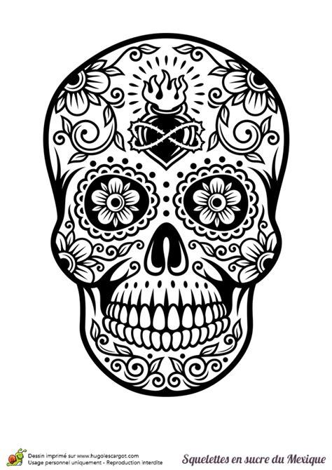 dessin tete de mort mexicaine coloriage cr 226 ne en sucre mexicain cœur et fleurs