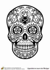 Dessin Tete De Mort Avec Rose : coloriage cr ne en sucre mexicain c ur et fleurs ~ Melissatoandfro.com Idées de Décoration