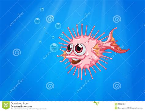pink puffer fish   ocean stock vector