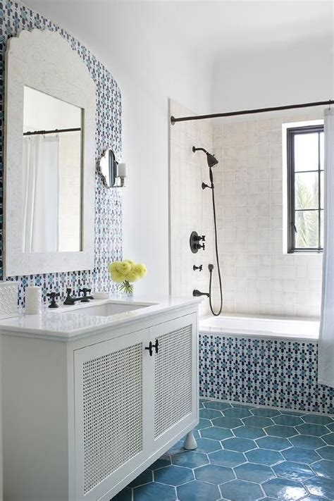Moroccan Bathroom Floor Tiles by Charming White And Blue Moroccan Style Bathroom Is