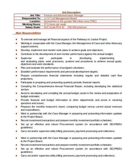 sle financial manager description 10 exles in