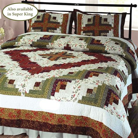 log cabin patchwork quilt bedding