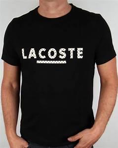 Lacoste lettering logo t shirt blackmensteecrewneck for Tee shirt lettering