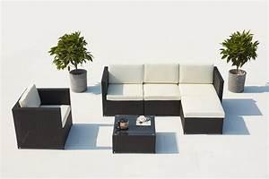 Salon De Jardin Blanc : salon de jardin r sine tress e aluminium 5 places romulus noir blanc ~ Teatrodelosmanantiales.com Idées de Décoration