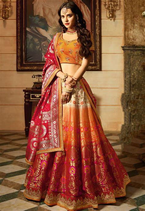 offwhite orange red silk indian wedding lehenga choli