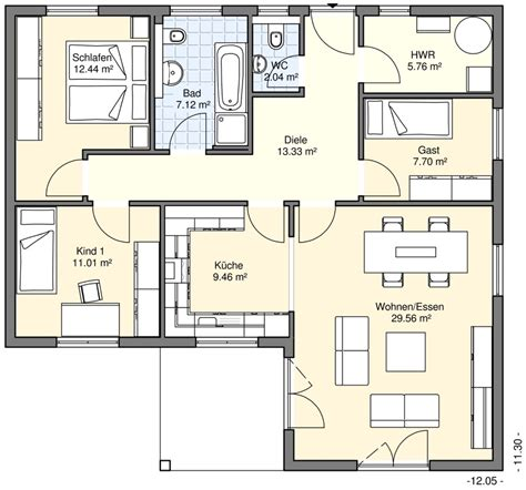 Grundriss Bungalow 100 M2 by Bungalows Bgw Hausbau