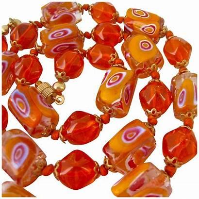 Vibrant Orange Bead Necklace Glass