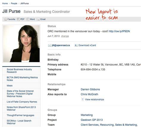 employee profile template version notes thoughtfarmer 6 5 avocado
