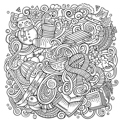 cartoon doodles winter   christmas adult coloring pages