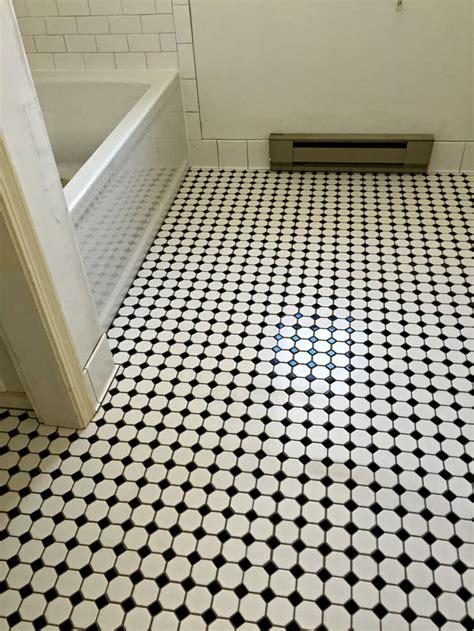 bathroom floor daltile octagon dot mosaic  black dot