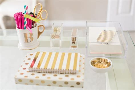 pink and gold desk accessories decoration hacks for your desk