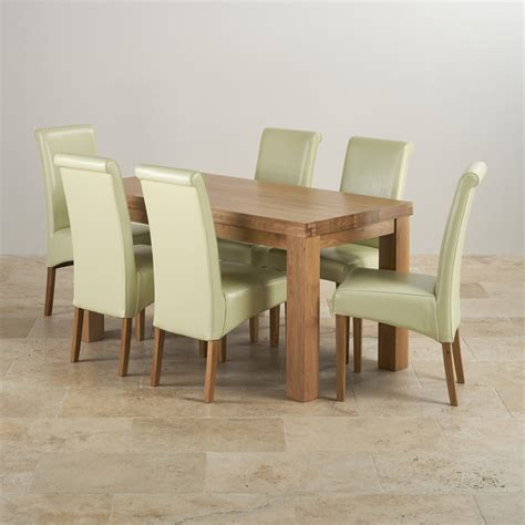 chunky dining set in oak dining table 6 leather