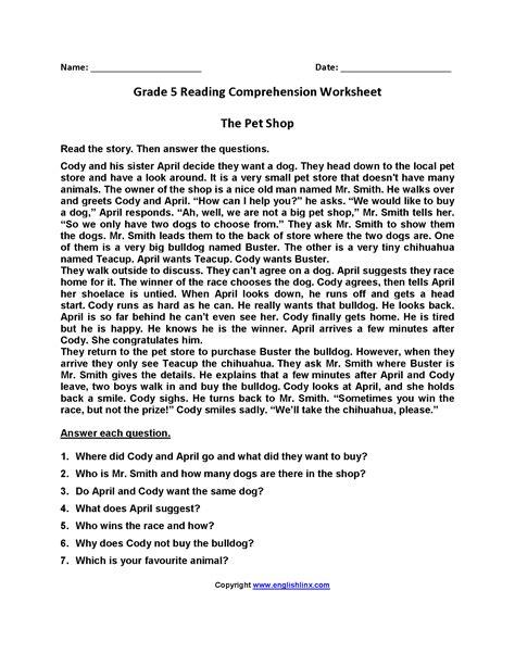 english comprehension worksheet  grade   worksheet