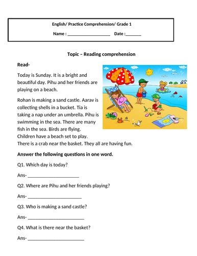 reading comprehension for grade 1 by charu 2804 teaching resources