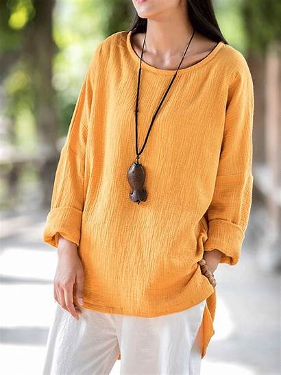 Loose Sleeve Neck Blouse Shirts Pure Newchic