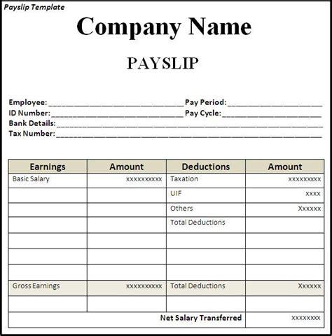 employee pay slip template format projectmanagersinn