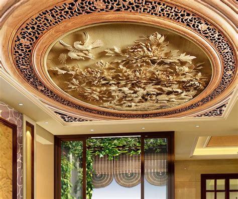 custom  ceiling wallpaper carved wood carving wallpaper
