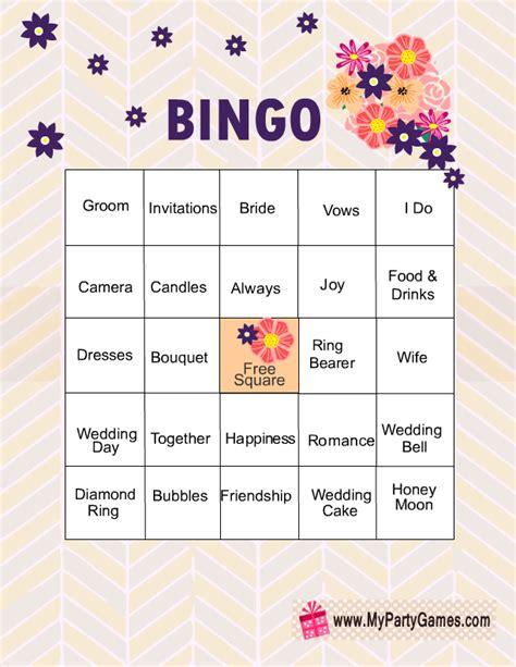 free printable bridal shower bingo game cards