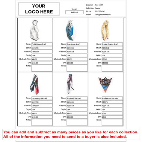 wholesale line sheet template startup fashion shop