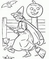 Coloring Halloween Pumpkin Witch Popular Coloringhome sketch template