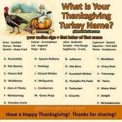 what is your thanksgiving turkey name glitter bruises