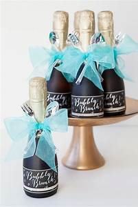make these darling mini champagne brunch invitations With diy mini wine bottle labels
