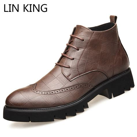 Lin King Punk Leather Spring Autumn Men Boots
