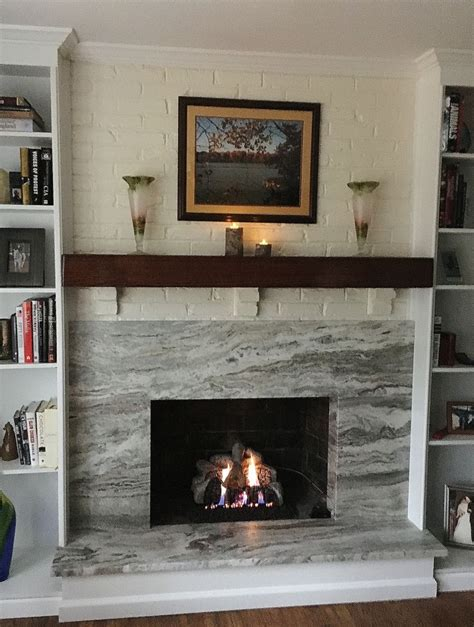brown fantasy leathered stone fireplace surround