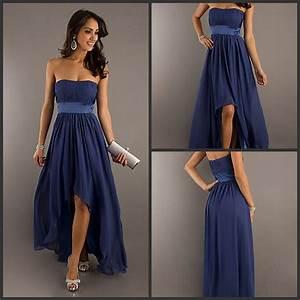 Vestido Para Madrinha Navy Blue Strapless High Low ...